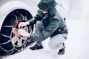 Chaînes à neige sur pneu