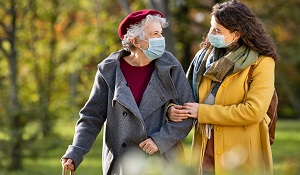 Femmes à pied avec masque
